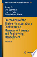 Proceedings Of The Thirteenth International Conference On Management Science And Engineering Management Book PDF
