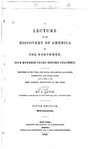 A Lecture on the Discovery of America by the Northmen, Five Hundred Years Before Columbus