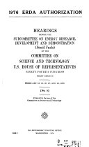 1976 ERDA Authorization and Transition Period  Fossil Fuels  Hearings Before the Subcommittee on Energy Research  Dvelopment and Demonstration  Fossil Fuels  Of     94 1  Feb  18  19  20  27  and 28  1975