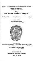 The Journal of the Bihar Pur  vid Parishad