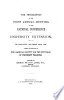 The Proceedings Of The Annual Meeting Of The National Conference On University Extension