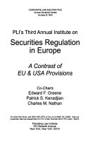 PLI s Annual Institute on Securities Regulation in Europe