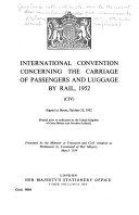 Convention Internationale Concernant Le Transport Des Marchandises Par Chemins de Fer  CIM  Du 25 Octobre 1952