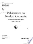 Foreign Statistical Publications, Accessions List