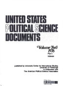 United States Political Science Documents Volume Two 1976 Part 1 Indexes