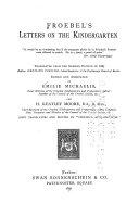 Froebel s Letters on the Kindergarten