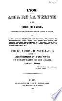 Loge De Vaise Constitu E Sous Les Auspices Du Supr Me Conseil De France