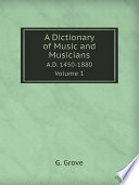 A Dictionary of Music and Musicians Book