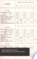 The Calendar of Owens college, Manchester