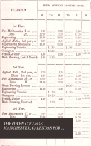 The Calendar of Owens college  Manchester