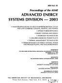 Proceedings of the ASME Advanced Energy Systems Division Book