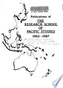 Publications of the Research School of Pacific Studies 1962-1987