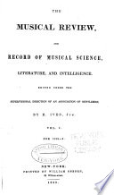 Musical Review and Record of Musical Science, Literature and Intelligence