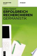Erfolgreich recherchieren - Germanistik