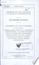 Tax Reform Hearings