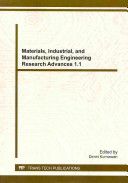 Materials, Industrial, and Manufacturing Engineering Research Advances 1. 1