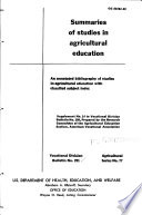 Summaries of Studies in Agricultural Education