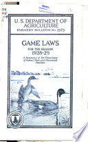 Game Laws For The Season 1928 29 Book PDF