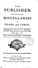 The Publisher  containing miscellanies in prose and verse  collected by J  Crokatt