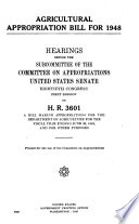 Agricultural Appropriation Bill for 1948 Book
