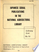 Japanese Serial Publications in the National Agricultural Library Book
