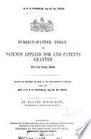 Subject Matter Index of Specifications of Patents Book