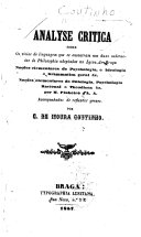 Analyse critica sobre os vicios de linguagem que se encontram nas duas cadernetas de philosophia adoptadas no Lyceu de Braga