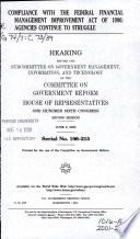 Compliance with the Federal Financial Management Improvement Act of 1996