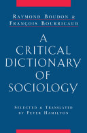 Pdf A Critical Dictionary of Sociology Telecharger