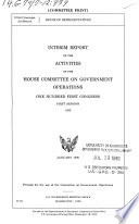 Interim Report of the Activities of the House Committee on Government Operations