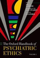 The Oxford Handbook of Psychiatric Ethics Book
