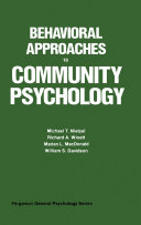 Behavioral Approaches to Community Psychology