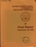 Report   National Advisory Council on Equality of Educational Opportunity
