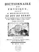 Dictionnaire de physique ...