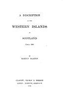 A Description of the Western Islands of Scotland  Circa 1695