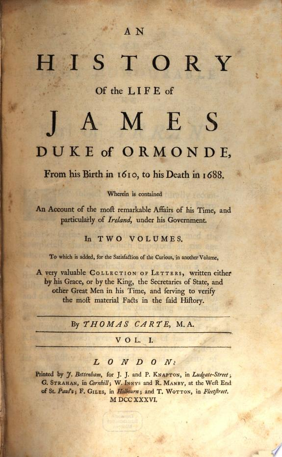 A History of the Life of James Duke of Ormonde