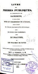 Livre Des Prières Publiques, de L'Administration Des Sacraments ...