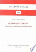 Reading Ecclesiastes