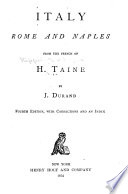 Italy  Rome and Naples Book