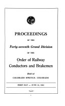 Proceedings of the Grand Division of the Order of Railway Conductors and Brakemen