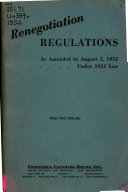 Renegotiation Regulations