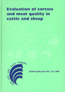 Evaluation of Carcass and Meat Quality in Cattle and Sheep Book