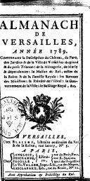 Almanach de Versailles, année 1789