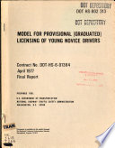 Model For Provisional Graduated Licensing Of Young Novice Drivers Book PDF