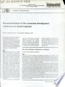 Recommendations Of The Consensus Development Conference On Dental Implants Book PDF