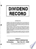 Standard & Poor's Quarterly Dividend Record