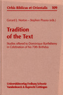 Tradition of the Text