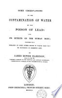 Some observations on the contamination of water by poison of lead  and its effects on the human body