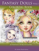Fantasy Dolls Vol 1 Coloring Book Grayscale  25 Portraits of Big Eye Cuties