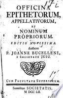 Officina epithetorum  appellativorum  et nominum propriorum  Editio secunda auctior Book
